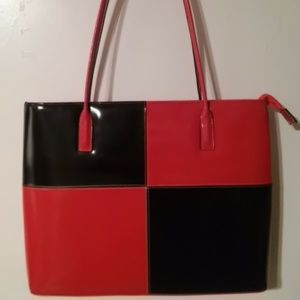 Vintage red and black block pattern vinyl tote